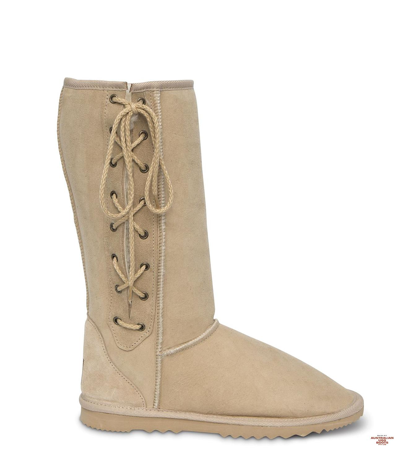 Lace Up Tall Ugg Boots. Image. Sand. Loading zoom